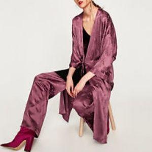 Zara Orchid Purple Jacquard Kimono Coat Large